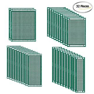 Alohha 32 PCS doppelseitige PCB Board Prototype Kit für DIY Löten mit 4 Größen kompatibel