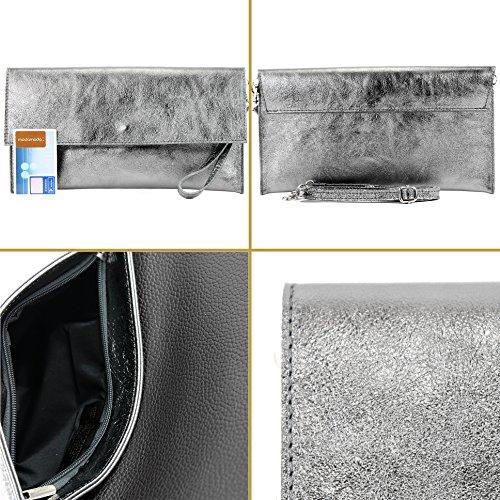 Modamoda de- ital. Borsa in pelle Clutch Underarm Bag Borsa da sera in pelle metallizzata M106-151 M151 Anthrazit Metallic Barato Barato eY9yM13
