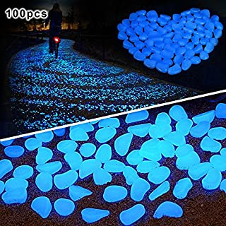 pengduo 100 Pcs Glow in the Dark Pebbles for Walkways Décor Glow Stones Rocks for Garden Outdoor Decorative Luminous Pebbles Gravel Fairy Garden Pathway Walkway Fish Tank Aquarium Ornaments (Blue)