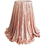 VOSAREA Polyester Fiber Table Cover Cloth Sequin Party Sequin Table Cloth (120x180CM, Rose Gold)