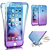 iPhone 5E Tpu Handyhülle,iPhone 5 5S Silikon hülle,JAWSEU Kreative Gradient Color 360°Schutz Durchsichtig Weich Gel Ultradünn Case Etui Transparent Clear Slim Fit Flexibel Rubber Fall Tasche Schutzhülle für iPhone SE/5S/5+1xSchwarz Glitzer Bling Eingabestift-Blau+Lila