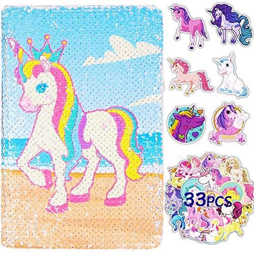 Unicorn Notebook - WENTS Unicornio Lentejuelas Cuaderno Reversibl Diario de Lentejuelas Mágicas y 33 PCS Pegatinas Unicornio Para Oficina Escuela Regalos