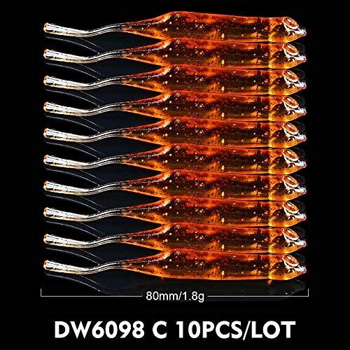 FANYUHONG 10 stücke Shad Weichen Fischköder Silikon Jigs Wurm Bass Köder Künstliche Swimbait Wobbler Pesca Tackle (Color : Color C) -