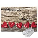 Geschenke 24 Personalisierte Fußmatte Herzen - Fußmatte mit Namen bedrucken - romantische Geschenke selber gestalten