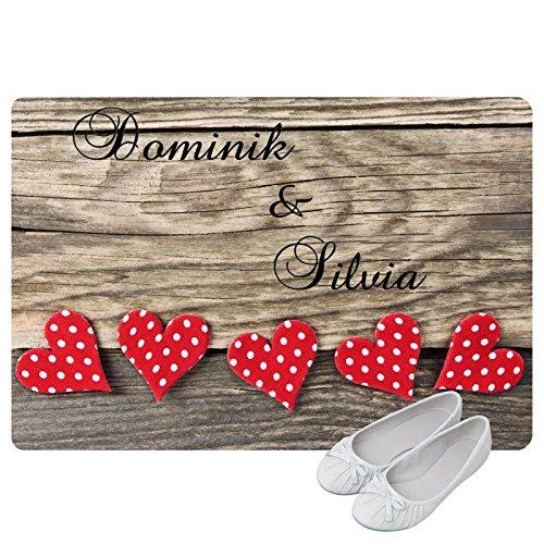 Preisvergleich Produktbild Geschenke 24 Personalisierte Fußmatte Herzen - Fußmatte mit Namen bedrucken - romantische Geschenke selber gestalten