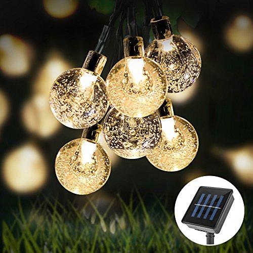 Amorphes Panel (Solar Lichterkette,Furado Wasserdicht 30er LED kugel lichterkette,Solar Beleuchtung Kugelnmit 8 Modi warmweiß, LED Lichterkette für Innen Außen Balkon Terrasse Party Weihnachtsbeleuchtung)