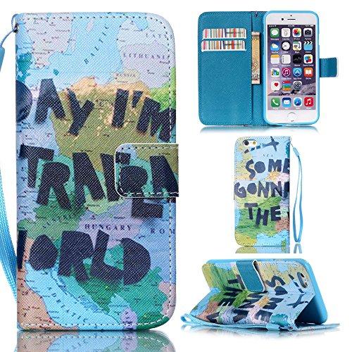 Ooboom® iPhone 5SE / 5S Coque PU Cuir Flip Housse Étui Cover Case Wallet Stand avec Carte de Crédit Fentes Dragonne pour Apple iPhone 5SE / 5S - Eléphant Carte du Monde