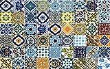 54 Mattonelle MISTE in ceramica smaltata. Pacco contenente 54 mattonelle decorate 10 X 10 cm spessore 0,6 cm - Mattonelle Tunisine realizzate con Serigrafia Artigianale
