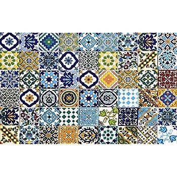 Piastrelle Di Ceramica Decorate.54 Mattonelle Miste In Ceramica Smaltata Pacco Contenente 54 Mattonelle Decorate 10 X 10 Cm Spessore 0 6 Cm Mattonelle Tunisine Realizzate Con