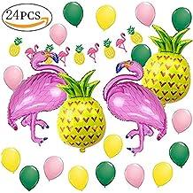 Decoración de fiesta en la playa hawaiana, Fiesta de verano tropical MMTX Fiesta temática de Luau en Hawaii con globos de helio Flamingo Pinea, ...