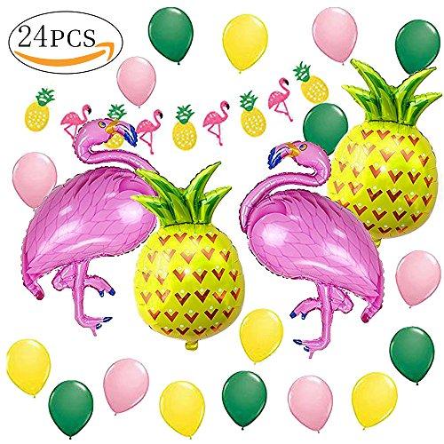 (MMTX Hawaiian Beach Party Dekoration, Tropischen Sommer Party Supplies Luau Hawaii Thema Party mit Flamingo Ananas Helium Ballons, Dekor Garland Bunting Banner und Latex Party Ballons Pack von 23)
