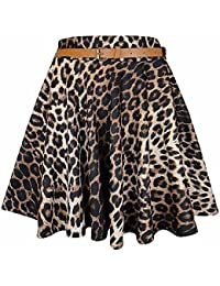 The Home of Fashion New Womens Brown Leopard Print Belted Skater Dress Skirt Size 8-14 (12 (ML))