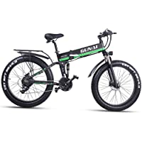 GUNAI Fettreifen Fahrrad 26 Zoll Elektro Fahrrad 1000 Watt 48 V Schnee e-Bike 21 Geschwindigkeiten Llithium Batterie…