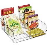 mDesign Matförvaring behållare — Köksförvaringslåda uppdelad i 6 fack — köksarrangör för kryddor, burkar, paket med mera — ge