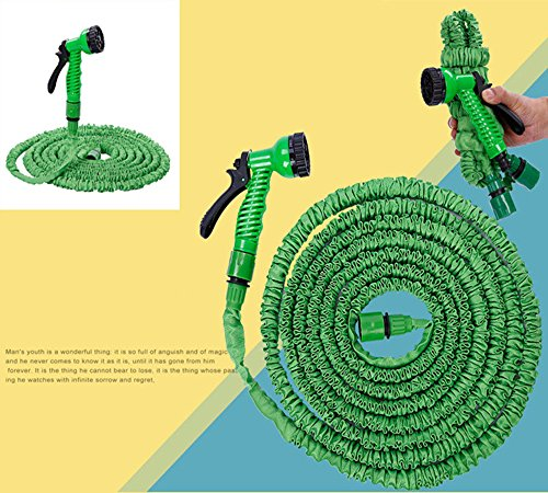 Expandable Garden Water Hose Pipe- Liwiner 100FT 3 Times Expanding Flexible Magic Lightweight Hose Pipes Reel With 7 Prayer Gun For Washing Car Watering Flowers Vegetables Cleaning Windows Floor