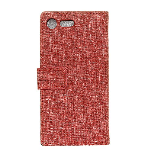 Tuch Jeans Texture Pattern Faux Leder Tasche Horizontale Flip Stand Case mit Card Slots für Sony Xperia XZ1 ( Color : Gray ) Red