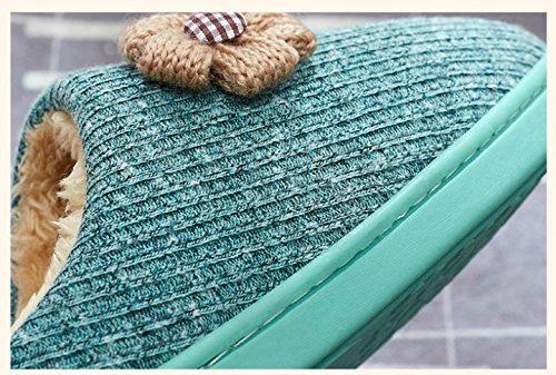 TELLW Cotone Pantofole Uomo e Donna Autunno e Inverno Indoor Soft Plush Pavimenti in Legno Pantofole Tappeto Pantofole Rosso