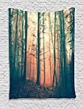 Forest Tapestry Mystic House Decor by Ambesonne, Light and Vintage Color in Mysterious Autumn Forest Woodland Nature Picture, Bedroom Living Room Dorm Wall Hanging Tapestry, Pink Dark Green