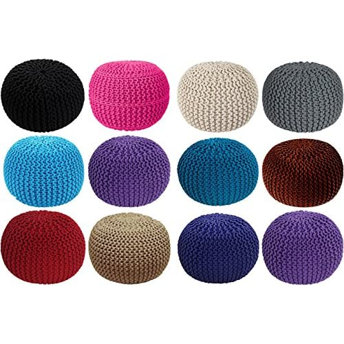 Home Sweet Home UK Large 100% Cotton Chunky Knitted Round Pouffe Foot Stool Ottoman