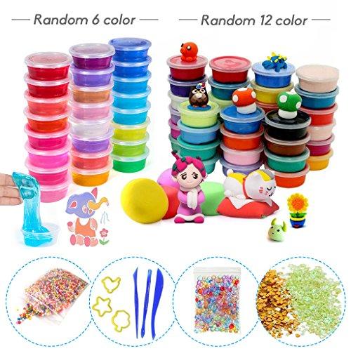 HONGCI Kinder Spielzeug DIY Knete Set(Mit 6 x Crystal Clay Schlamm,12 x Springknete Kinderknete,1 x Bunte Schaum Bälle,1 x Multicolor Fishbowl Beads,1 x small Plastic Container Glitter)