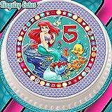 Essbarer Kuchenaufsatz zum 5. Geburtstag, Arielle die Meerjungfrau, Zuckerguss, vorgeschnitten, rund, 19cm