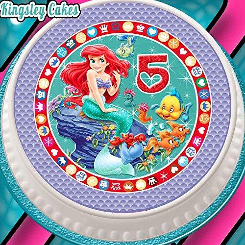 Décoration prédécoupée et comestible pour glaçage de gâteau 5e anniversaire Forme ronde 19 cm Motif Ariel la petite sirène