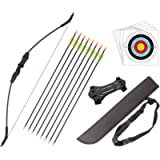 Outdoor Youth Recurve Bow and Arrow Set with Quiver Junior Archery Beginner Longbow for Training Includes 8 Arrows…