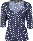 Küstenluder Damen Oberteil Daina Punkte Rockabilly Shirt Blau S