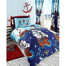 Kids Club diseño de piratas Swashbuckle juego de funda nórdica juego de cama (individual, doble), azul, doble