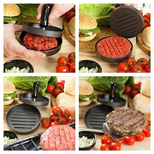 #1 P.I.P.E. LLC Luxus Hamburgerpresse mit 10 Burger-Papierfolien. Empfohlen von Restaurants. Zaubern Sie sich köstlichste Burger mit Burgerpresse. - 6