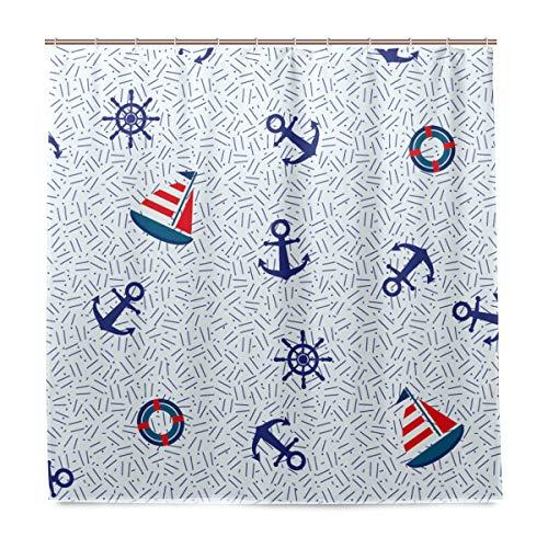 vinlin Maritim Anker Muster Wasserdicht Badezimmer Zubehör Vorhang für die Dusche Badewanne Vorhang 182,9x 182,9cm