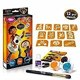 TyToo Disney Coco - Kit de Tatuajes con Purpurina (12 Plantillas increíbles, hipoalergénico, sin crueldad), de 8 a 18 días, Tatuajes temporales