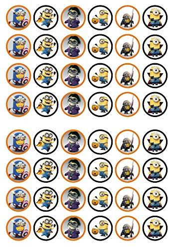 48 Halloween Minions, Essbare PREMIUM Dicke GEZUCKERTE Vanille, Reispapier Mini Cupcake Toppers, Cake Pops, Cookies für Wafer