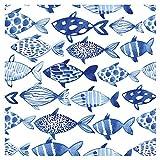 murando - Vlies Tapete Fische - Deko Panel Fototapete Wandtapete Wand Deko 10 m Tapetenrolle Mustertapete Wandtapete modern design Dekoration - blau weiß g-B-0082-j-a