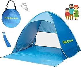 NRG Clever® OT2PB Das Beste Strandzelt, Extra Leicht Automatik Strandmuschel mit Boden Sonnenschutz UV-Schutz, Familie Tragbares Strand-Zelt in Blau, Outdoor Beach Tent Tragbar
