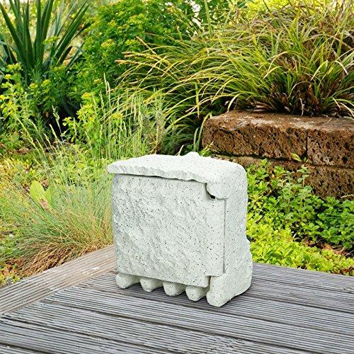 ECD Germany Steinsteckdose - Steckdose - 4-fach - Weiß - 220-240 V / 50-60 Hz - IP44 - Wetterfest - mit 1,5m Kabel und Klapptür - mit vier Kabeldurchlässen - Außensteckdose - Gartensteckdose - Steckdosenverteiler in Steinoptik