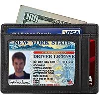 Black Slim Wallet Front Pocket Wallet Secure Thin Credit Card Holder RFID Blocking