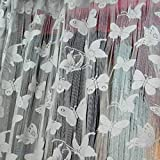 Sharplace Schmetterling Vorhang Fadenvorhang Jacquard Tür Fenster Scheibe Raumteiler Quaste 200cm x 100 cm - Grau