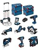 Kit Bosch PSL8P4A (GST 18 V-LI + GKS 18 V-LI + GDX 18 V-LI + GBH 18 V-EC + GSA 18 V-LI C + GLI VariLED + GSB 18-2-LI + GWS 18 V-LI + Chargeur rapide AL1860CV + 4 batteries x 5,0Ah + 3 x Système de coffres L-Boxx 238 + 1 x Système de coffres L-Boxx 136 + CADDY)