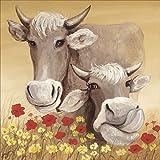 Artland Qualitätsbilder I Bild auf Leinwand Leinwandbilder Wandbilder 70 x 70 cm Tiere Haustiere Kuh Malerei Creme D1SH Kühe