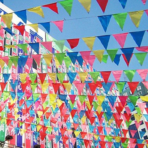 Seika Buntes Wimpelbanner Wimpelkette, 328 Fuß, Wimpelkette, Wimpelkette, 150 Außen-Dekoration, für Geburtstage, Partys, Hochzeiten, Zeremonien, Zelt, Festival-Dekoration