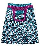 Sunsa Damen Rock Knielangrock Sommerrock Wickelrock Wenderock aus Baumwolle, Zwei optisch verschiedene Röcke mit einem abnehmbaren Täschchen, Größe ist variabel verstellbar durch Druckknöpfe