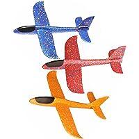 Skitic 3Pcs Avion Planeurs Enfant Jouet, Mousse Main Lancer Planeur D'avion d'inertie Modèle DIY Jouet - ( Bleu + Rouge + Orange)