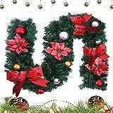 hotbesteu Tannengirlande Weihnachtsgirlande mit Christbaumkugeln und Schleife Weihnachten Deko Girlande Weihnachtsdeko 1.8 Meter Rot