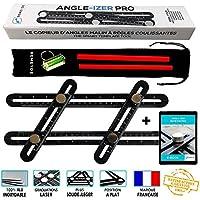 ANGLE-IZER Aluminio Pro, herramienta de plantilla de ángulo múltiple, Regla de medición, ángulo experto sólido, copiadora de esquina, formas, tornillos de acero, estuche, 2 lápices,1 nivel de burbuja