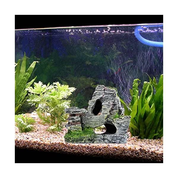 fuwahahah Fish Tank Rockery Hiding Cave Decor, Mountain View Aquarium Tree Fish Tank Ornament Decoration