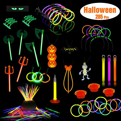 Ruspepa halloween glow-in dark party supplies, 285 pack glow sticks in massa, designer a tema halloween (zucca, scheletro) bracciali, collana, occhiali, bacchette magiche e altro