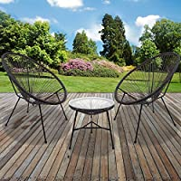 Marko Outdoor String Moon Chairs & 50cm Round Glass Table Steel Tube Frame Legs Indoor Outdoor (3PC Set - Grey)