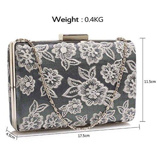 Trendstar Damen Kupplungs Handtasche Blume Entwurf Damen Schnüren Abend Prom Party Hochzeit Taschen Grau