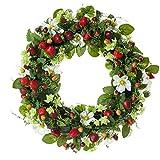 Dekokranz mit Erdbeeren Kunststoff/Rattan grün/rot ca. 40 cm Ø